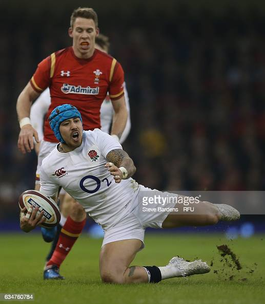 Jack Nowell of England slips during the RBS Six Nations match between Wales and England at the Principality Stadium on February 11 2017 in Cardiff...