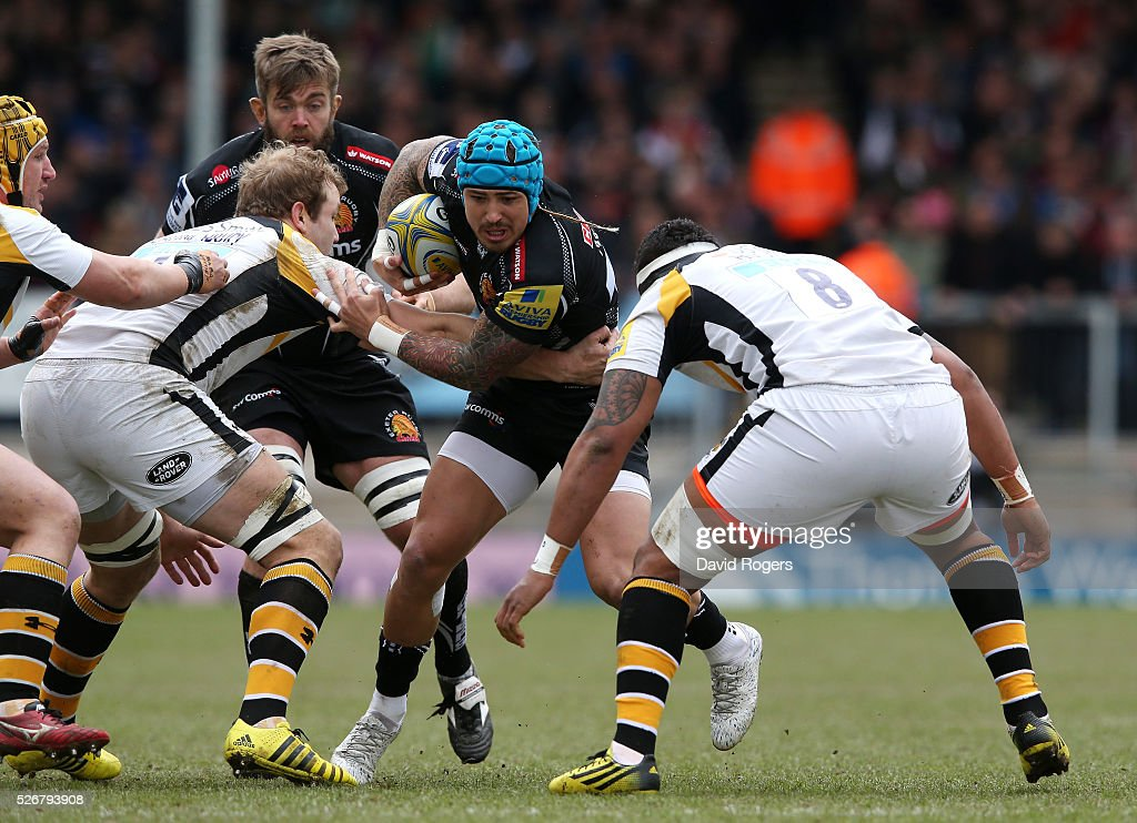 <a gi-track='captionPersonalityLinkClicked' href=/galleries/search?phrase=Jack+Nowell&family=editorial&specificpeople=7377985 ng-click='$event.stopPropagation()'>Jack Nowell</a> of Exeter charges upfield during the Aviva Premiership match between Exeter Chiefs and Wasps at Sandy Park on May 1, 2016 in Exeter, England.