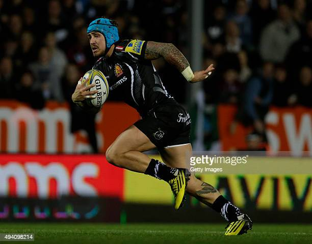 Jack Nowell of Exeter Chiefs in action during the Aviva Premiership Match between Exeter Chiefs and London Irish at Sandy Park on October 24 2015 in...
