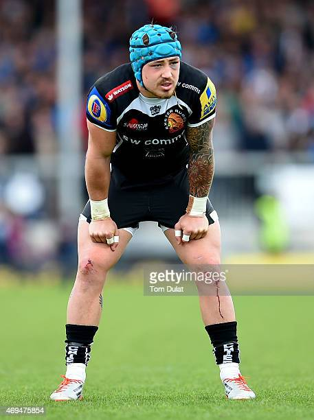 Jack Nowell of Exeter Chiefs looks on during the Aviva Premiership match between Exeter Chiefs and Northampton Saints at Sandy Park on April 12 2015...