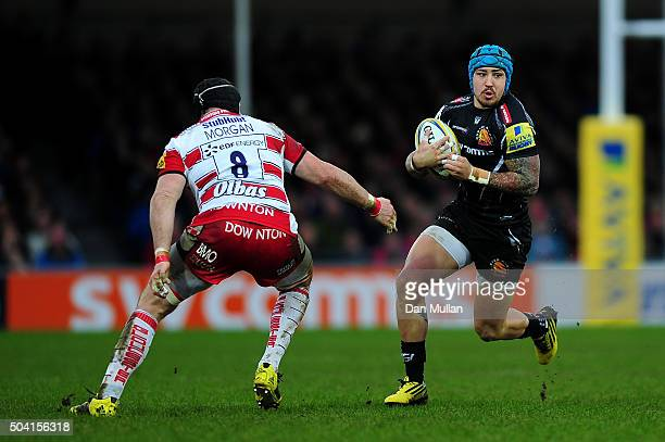 Jack Nowell of Exeter Chiefs takes on Ben Morgan of Gloucester during the Aviva Premiership match between Exeter Chiefs and Gloucester Rugby at Sandy...