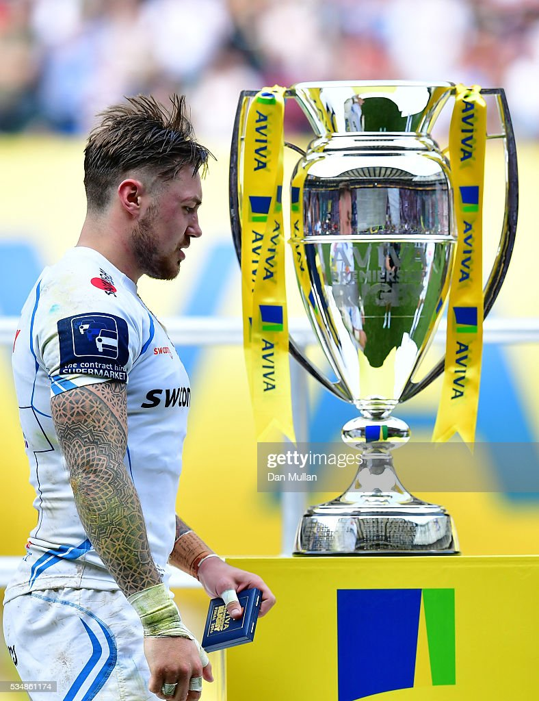 <a gi-track='captionPersonalityLinkClicked' href=/galleries/search?phrase=Jack+Nowell&family=editorial&specificpeople=7377985 ng-click='$event.stopPropagation()'>Jack Nowell</a> of Exeter Chiefs walks past the trophy after the Aviva Premiership final match between Saracens and Exeter Chiefs at Twickenham Stadium on May 28, 2016 in London, England.