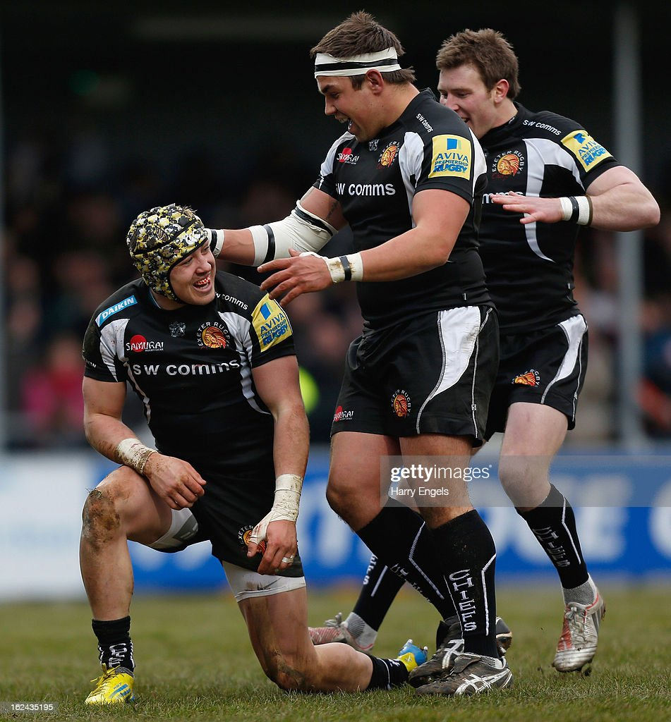 Jack Nowell of Exeter (L) is congratulated by teammates after scoring a try during the Aviva Premiership match between Exeter Chiefs and London Welsh at Sandy Park on February 23, 2013 in Exeter, England.