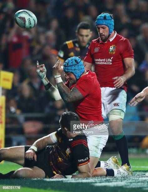 Jack Nowell of the Lions celebtrates after scoring his team's second try during the 2017 British Irish Lions tour match between the Chiefs and the...