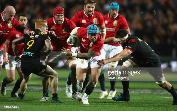 Jack Nowell of the Lions charges upfield during the match between the Chiefs and the British Irish Lions at Waikato Stadium on June 20 2017 in...