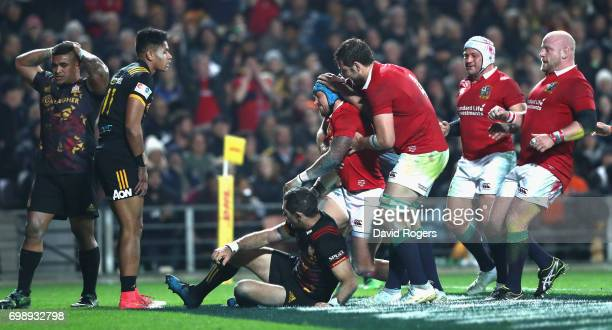 Jack Nowell of the Lions is mobbed by team mates after scoring his second try during the match between the Chiefs and the British Irish Lions at...