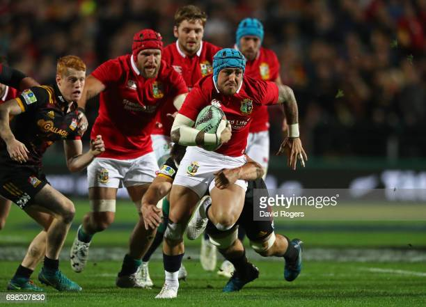 Jack Nowell of the Lions powers upfield during the 2017 British Irish Lions tour match between the Chiefs and the British Irish Lions at the Waikato...