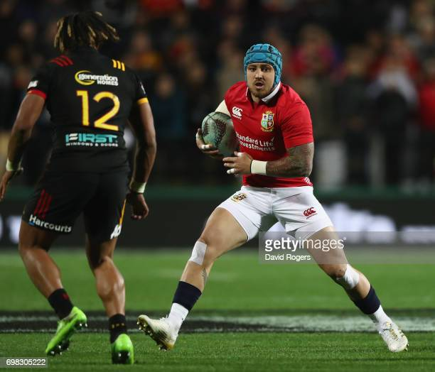 Jack Nowell of the Lions takes on Johnny Fa'auli during the match between the Chiefs and the British Irish Lions at Waikato Stadium on June 20 2017...