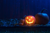 A glowing smiling Jack O' Lantern looking at the camera sitting on an old weathered wooden deck under the blue moon light. There are various size pumpkins and gourds sitting within the Fall leaves wit