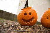 Jack o lanterns cut into pumpkins for Halloween