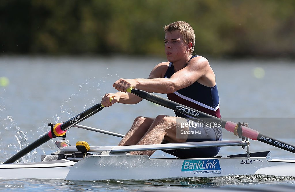 Jack O'Leary of Kavanagh College races in the second semi final of the boys U18 single scull during day four of the Maadi Cup at Lake Karapiro on March 21, 2013 in Cambridge, New Zealand.