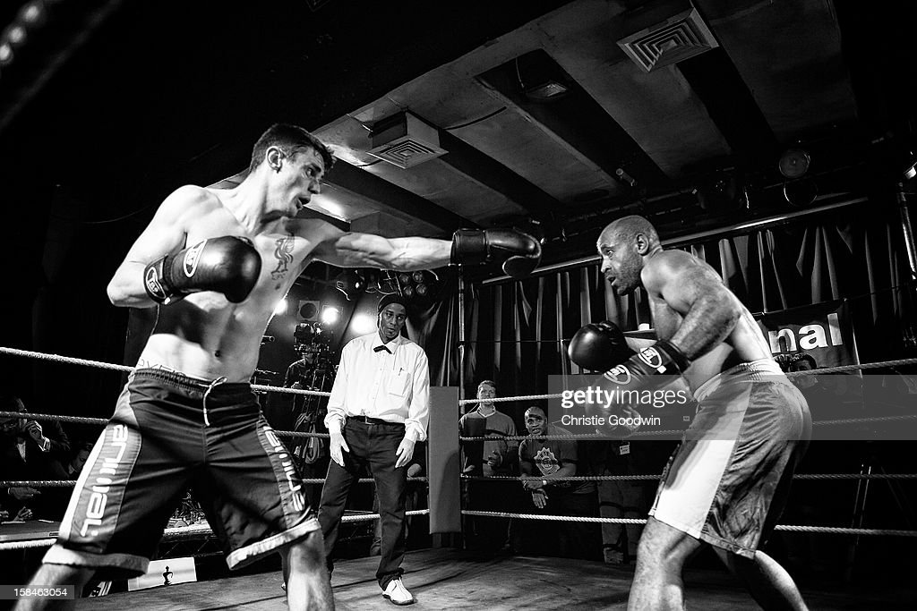 Jack Page and Ricky Rock in the ring during the Chessboxing 2012 Season Finale at Scala on December 8, 2012 in London, England.