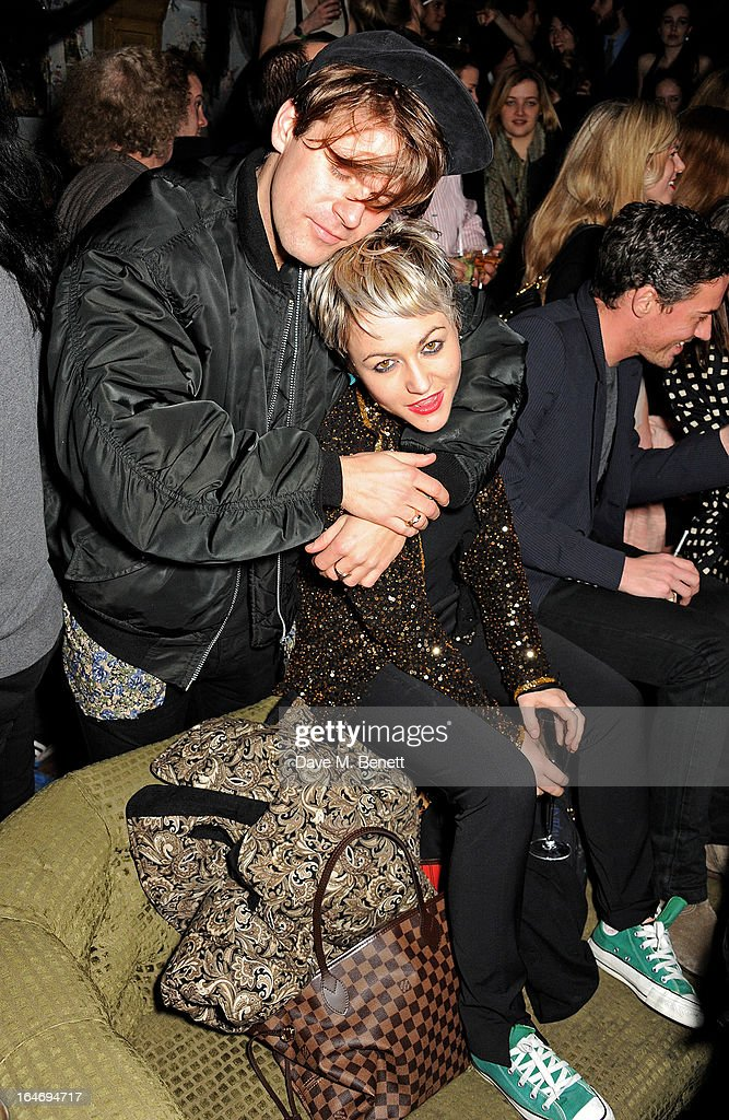 Jack Penate (L) and Jaime Winstone attend the ABSOLUT Elyx launch party at The Box Soho on March 26, 2013 in London, England.