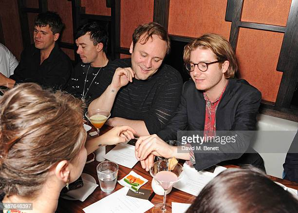 Jack Penate Robbie Furze Nicholas Kirkwood and Dominic Jones attend Fran Cutler's birthday dinner at Bo Lang on May 1 2014 in London England