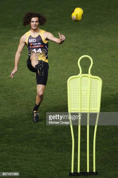 Jack Petruccelle of the Northern Knights kicks the ball during the AFLW Draft Combine at Etihad Stadium on October 4 2017 in Melbourne Australia