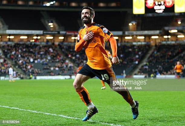 Jack Price of Wolverhampton Wanderers celebrates after he scores to make it 12 during the Sky Bet Championship match between MK Dons and...