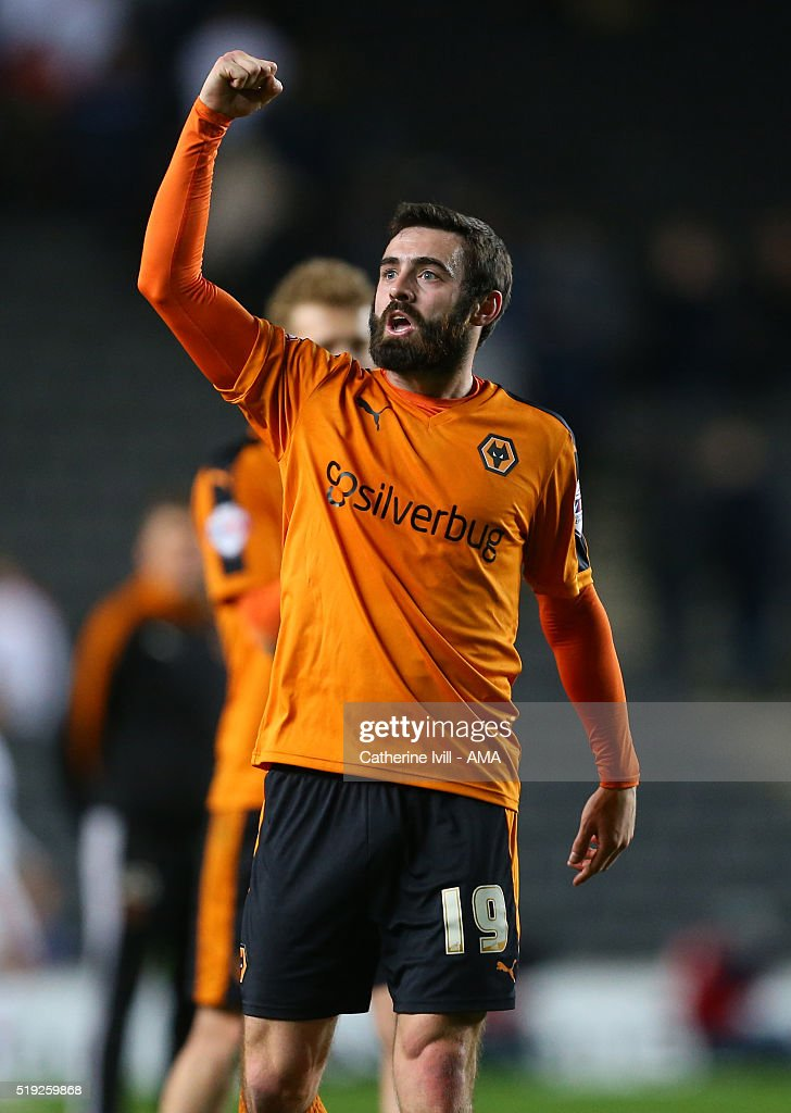 Jack Price of Wolverhampton Wanderers celebrates at the end of the Sky Bet Championship match between MK Dons and Wolverhampton Wanderers at Stadium mk on April 5, 2016 in Milton Keynes, United Kingdom.