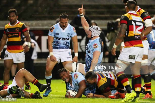 Jack Ram of Northland scores a try during the round four Mitre 10 Cup match between Northland and Waikato at Toll Stadium on September 9 2017 in...