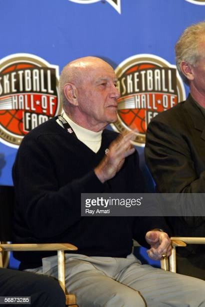 Jack Ramsay waves during the Basketball Hall of Fame Inductees Press Conference on February 17 2006 at the Hilton Americas Hotel in Houston Texas...