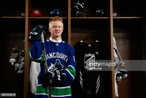 Jack Rathbone 95th overall pick of the Vancouver Canucks poses for a portrait during the 2017 NHL Draft at United Center on June 24 2017 in Chicago...