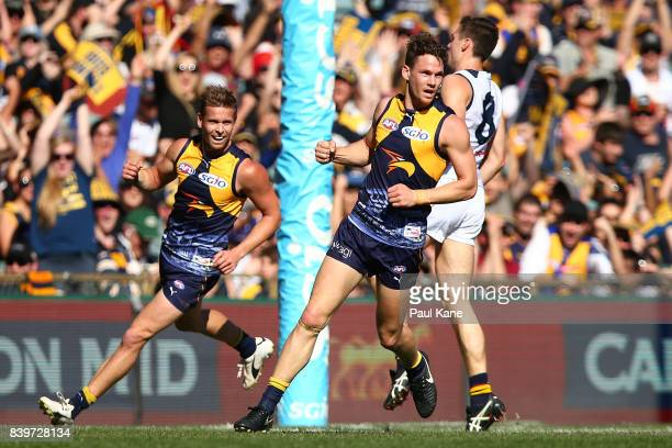 Jack Redden of the Eagles celebrates a goal during the round 23 AFL match between the West Coast Eagles and the Adelaide Crows at Domain Stadium on...