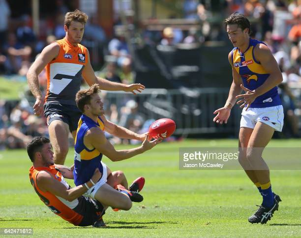 Jack Redden of the Eagles hand balls during the 2017 JLT Community Series match between Greater Western Sydney Giants and the West Coast Eagles at...