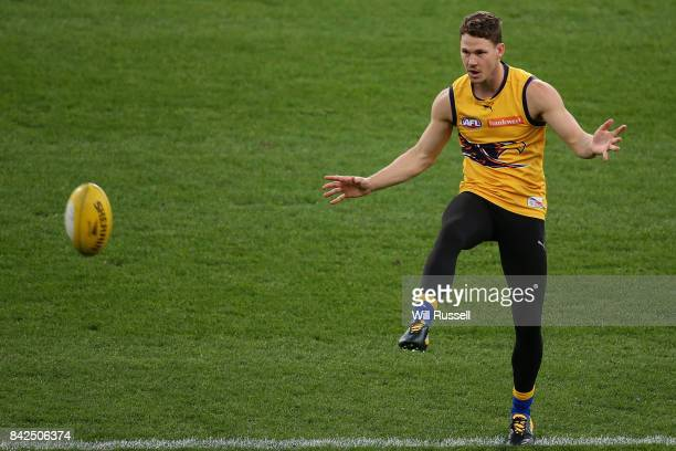 Jack Redden of the Eagles kicks during a West Coast Eagles AFL training session at Domain Stadium on September 4 2017 in Perth Australia