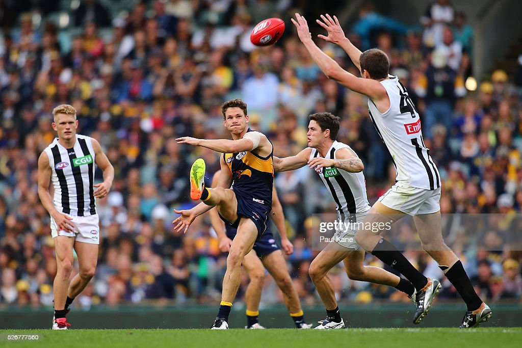Jack Redden of the Eagles kicks the ball forward during the round six AFL match between the West Coast Eagles and the Collingwood Magpies at Domain Stadium on May 1, 2016 in Perth, Australia.