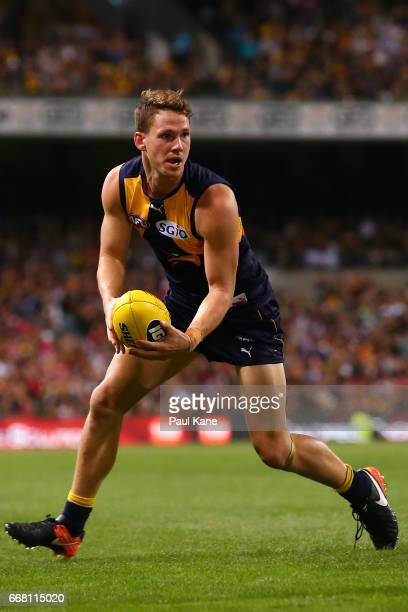 Jack Redden of the Eagles looks to pass the ball during the round four AFL match between the West Coast Eagles and the Sydney Swans at Domain Stadium...