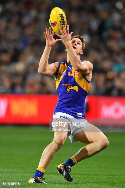 Jack Redden of the Eagles marks the ball during the AFL First Elimination Final match between Port Adelaide Power and West Coast Eagles at Adelaide...