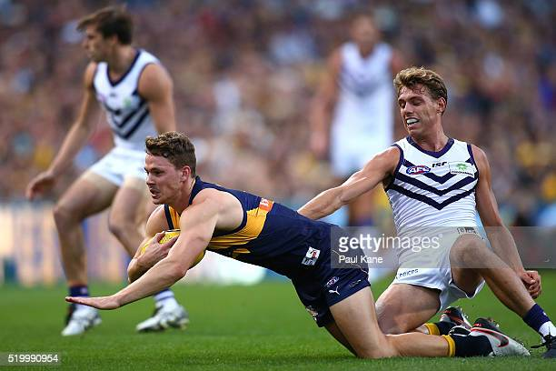 Jack Redden of the Eagles marks the ball during the round three AFL match between the West Coast Eagles and the Fremantle Dockers at Domain Stadium...
