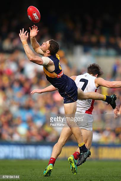 Jack Redden of the Eagles sets for a mark during the round 18 AFL match between the West Coast Eagles and the Melbourne Demons at Domain Stadium on...