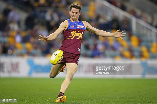 Jack Redden of the Lions kicks during the round 17 AFL match between the Brisbane Lions and the North Melbourne Kangaroos at The Gabba on July 25...