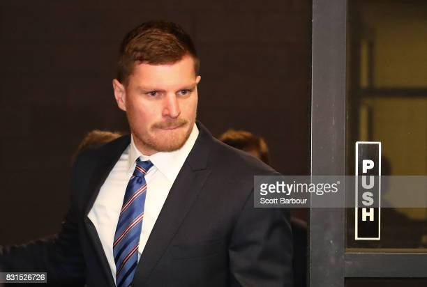 Jack Redpath of the Western Bulldogs arrives at AFL House on August 15 2017 for his AFL Tribunal hearing into striking Phil Davis of the Greater...