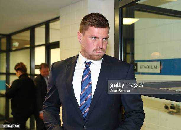 Jack Redpath of the Western Bulldogs leaves AFL House being served a threematch ban on August 15 2017 for his AFL Tribunal hearing into striking Phil...