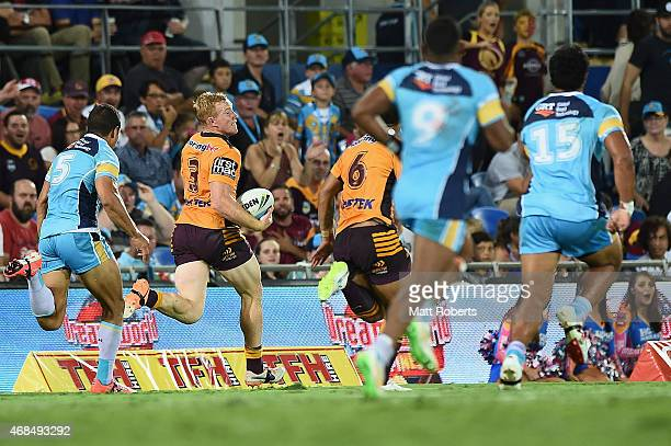 Jack Reed of the Broncos makes a break during the round five NRL match between the Gold Coast Titans and the Brisbane Broncos at Cbus Super Stadium...