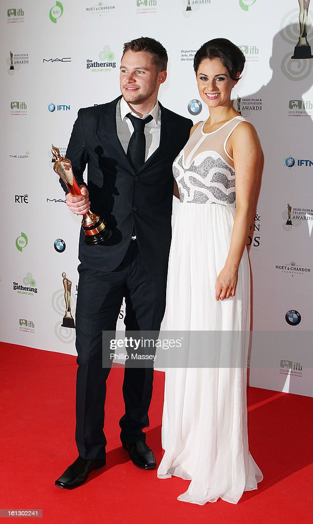 Jack Reynor and Madeline Mulqueen pose in the Press Room after receiving the Best actor in film award for his role in 'What Richard Did' at the Irish Film and Television Awards at the Convention Centre Dublin on February 9, 2013 in Dublin, Ireland.