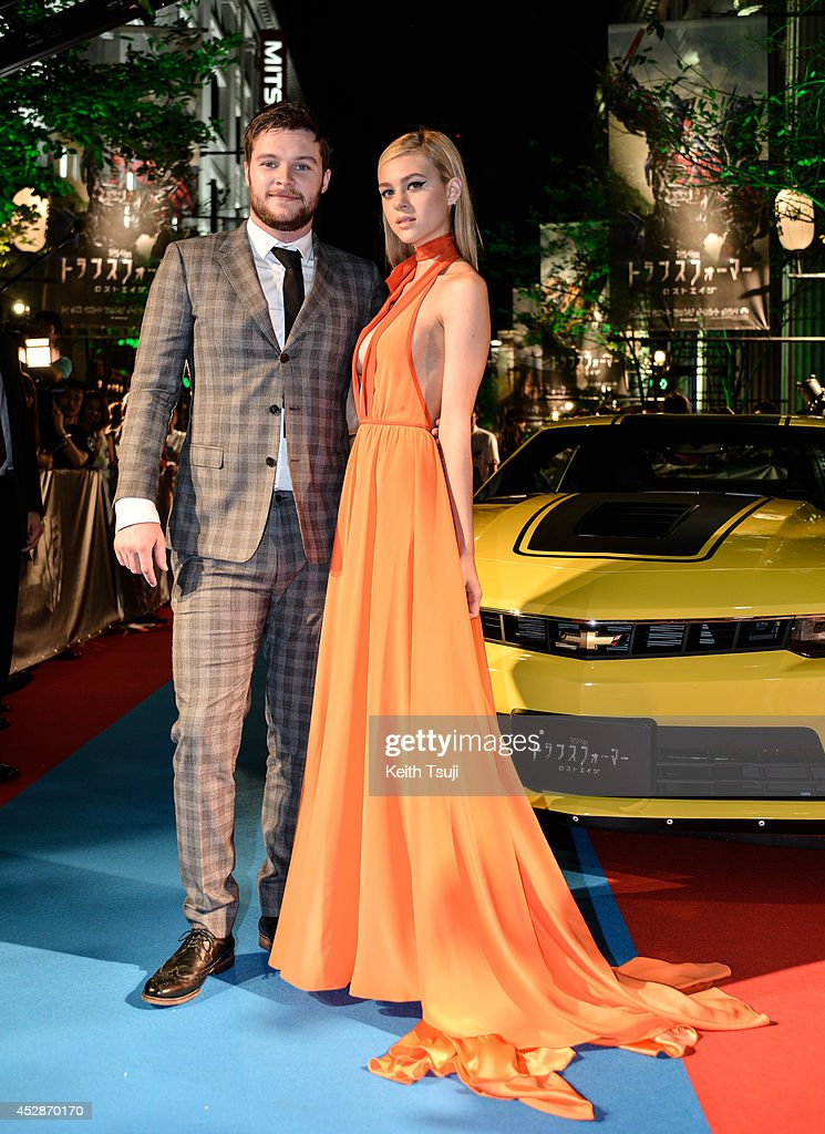 Jack Reynor and Nicola Peltz attend the Japan premiere of 'Transformers Age Of Extinction' at the Toho Cinemas Nihonbashi on July 28 2014 in Tokyo...