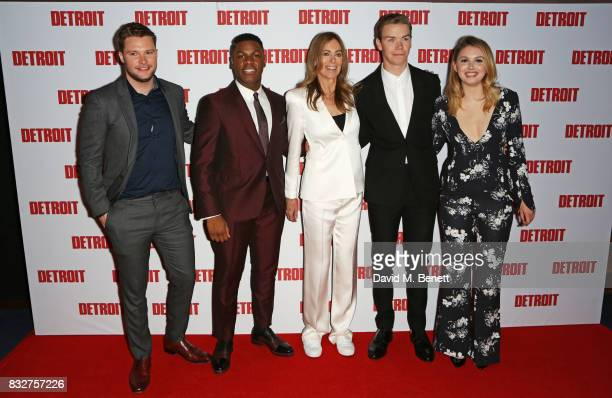 Jack Reynor John Boyega director Kathryn Bigelow Will Poulter and Hannah Murray attend the European Premiere of 'Detroit' at The Curzon Mayfair on...