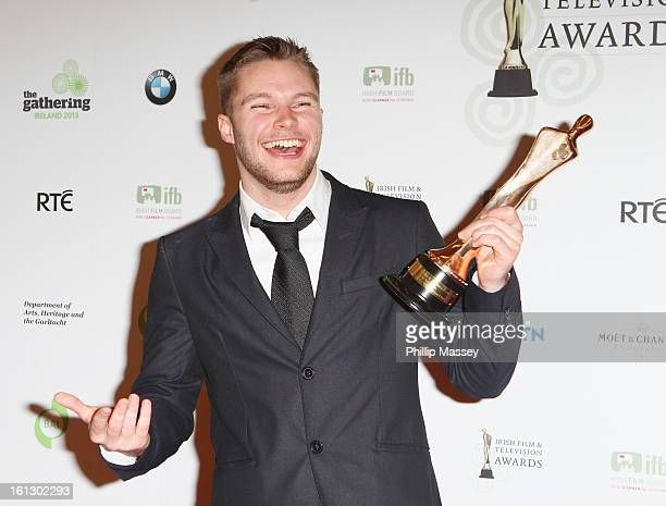 Jack Reynor poses in the Press Room after receiving the Best actor in film award for his role in 'What Richard Did' at the Irish Film and Television...