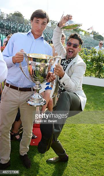 Jack Richardson and Dominic Cooper attend Audi International at Guards Polo Club near Windsor to support England as it faces Argentina for the...
