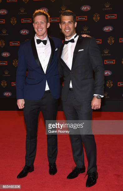 Jack Riewoldt and Alex Rance of the Tigers arrives ahead of the 2017 Brownlow Medal at Crown Entertainment Complex on September 25 2017 in Melbourne...