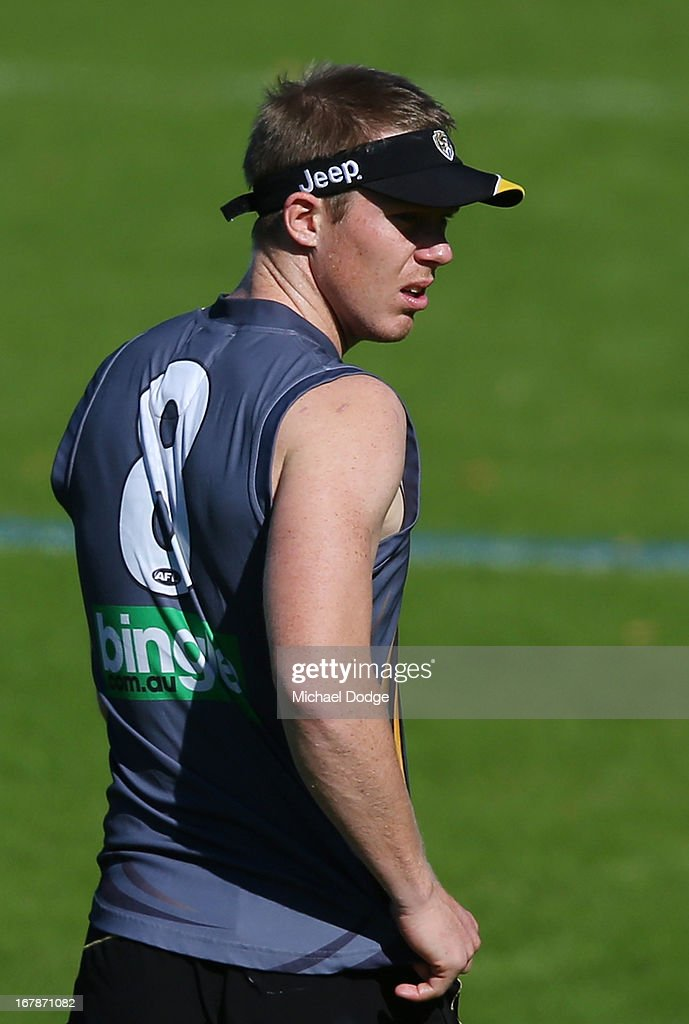 <a gi-track='captionPersonalityLinkClicked' href=/galleries/search?phrase=Jack+Riewoldt&family=editorial&specificpeople=2327975 ng-click='$event.stopPropagation()'>Jack Riewoldt</a> looks ahead during a Richmond Tigers AFL training session at ME Bank Centre on May 2, 2013 in Melbourne, Australia.