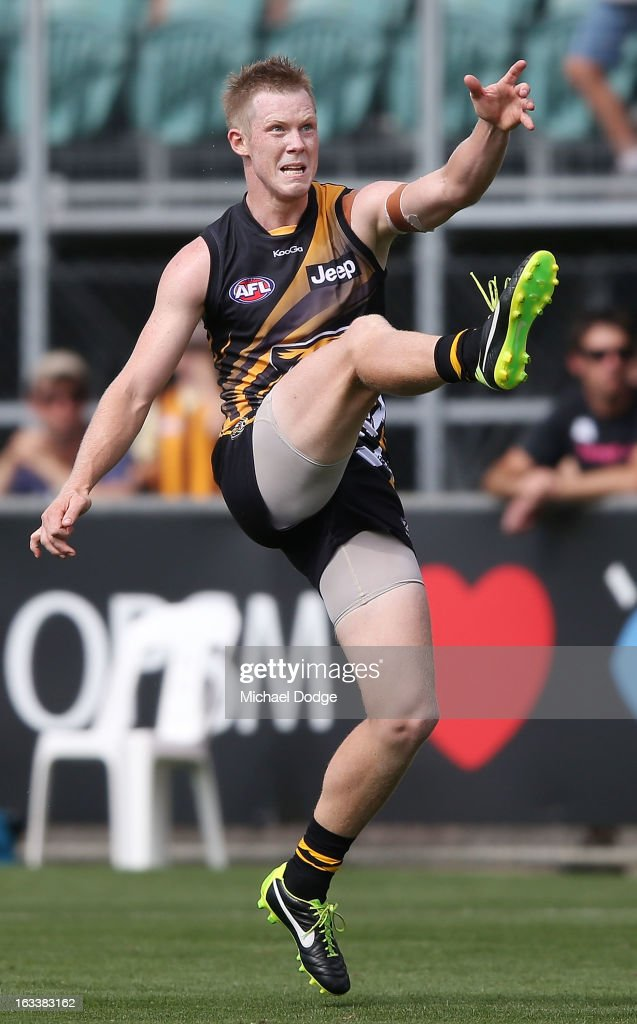 Jack Riewoldt of the Richmond Tigers kicks his winning goal after the final siren during the round three NAB Cup AFL match between the Hawthorn Hawks and the Richmond Tigers at Aurora Stadium on March 9, 2013 in Launceston, Australia.