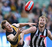 Jack Riewoldt of the Tigers and Jonathon Marsh compete for the ball during the round 21 AFL match between the Collingwood Magpies and the Richmond...