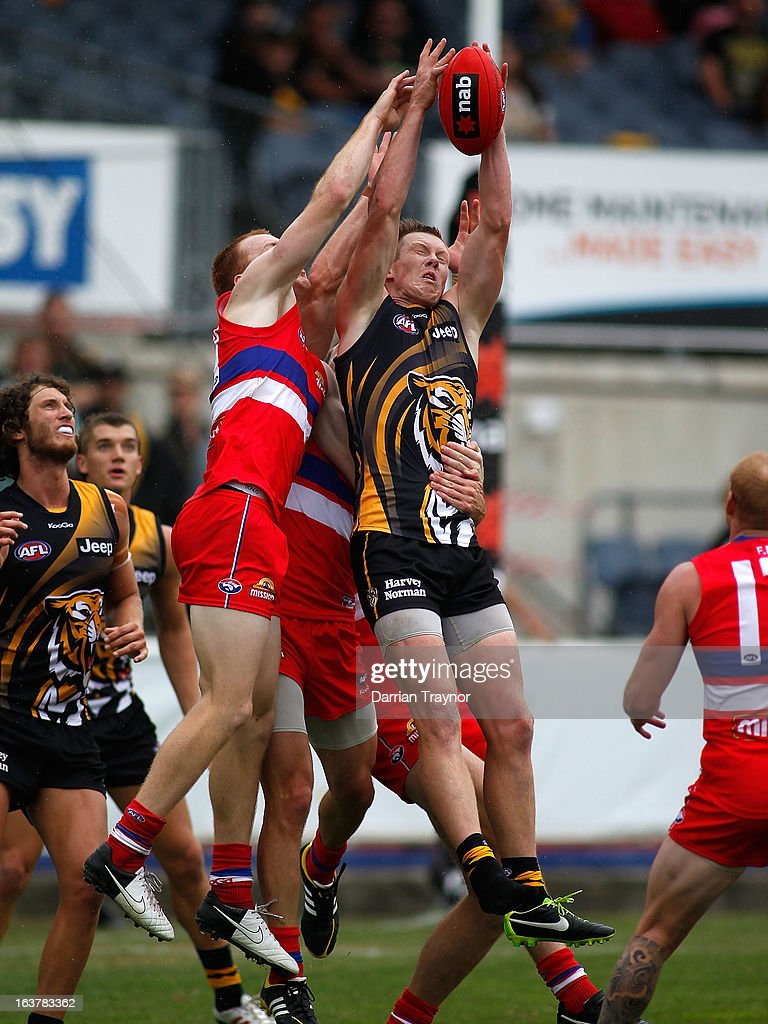 Jack Riewoldt of the Tigers attempts to mark the ball during the AFL practice match between the Richmond Tigers and the Western Bulldogs at Visy Park on March 16, 2013 in Melbourne, Australia.