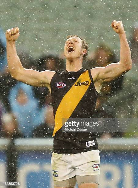 Jack Riewoldt of the Tigers celebrate the win on the siren during the round 19 AFL match between the Hawthorn Hawks and the Richmond Tigers at...