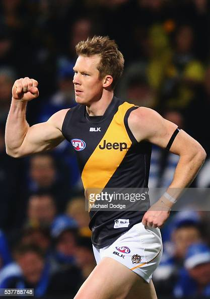 Jack Riewoldt of the Tigers celebrates a goal during the round 11 AFL match between the North Melbourne Kangaroos and the Richmond Tigers at...