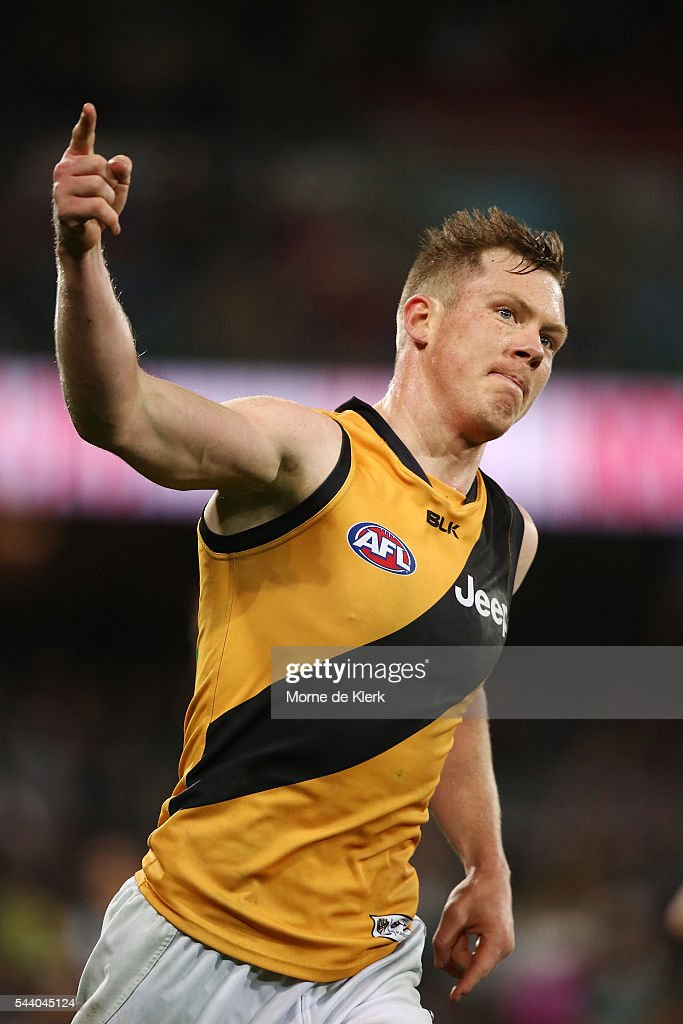 <a gi-track='captionPersonalityLinkClicked' href=/galleries/search?phrase=Jack+Riewoldt&family=editorial&specificpeople=2327975 ng-click='$event.stopPropagation()'>Jack Riewoldt</a> of the Tigers celebrates a goal during the round 15 AFL match between the Port Adelaide Power and the Richmond Tigers at Adelaide Oval on July 1, 2016 in Adelaide, Australia.