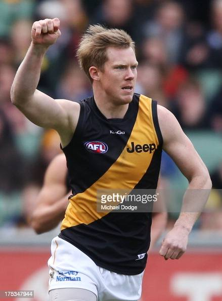 Jack Riewoldt of the Tigers celebrates a goal during the round 19 AFL match between the Hawthorn Hawks and the Richmond Tigers at Melbourne Cricket...